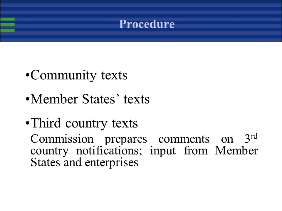 Community texts Member States' texts Third country texts Procedure