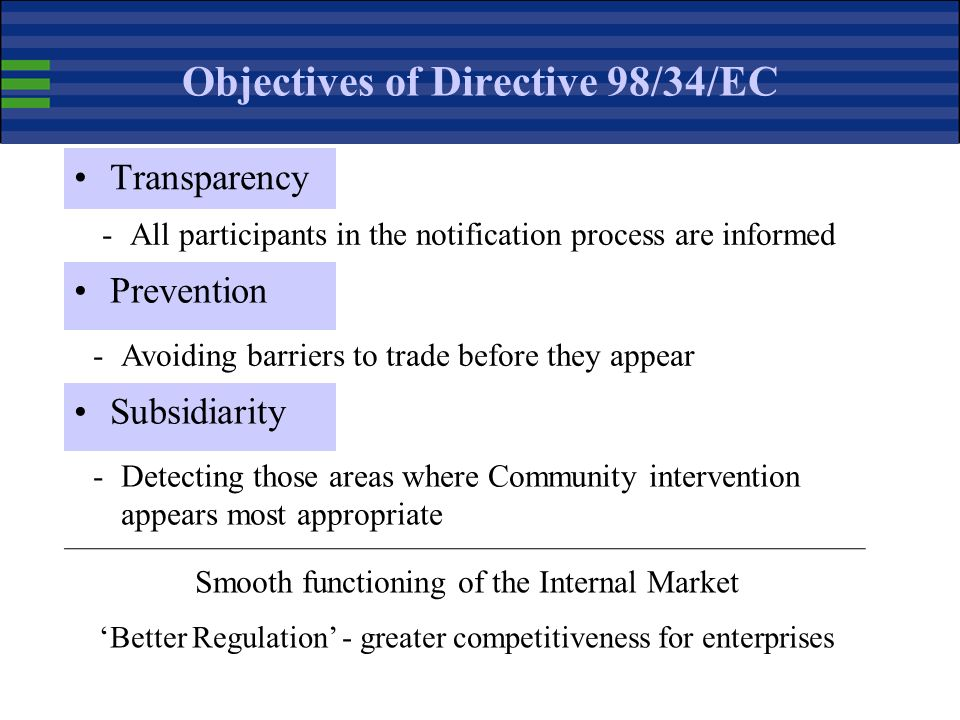 Objectives of Directive 98/34/EC
