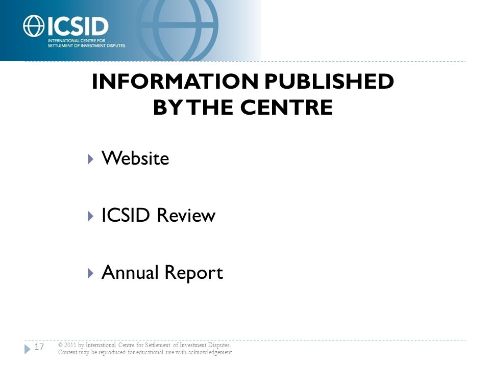 Information Published by the Centre