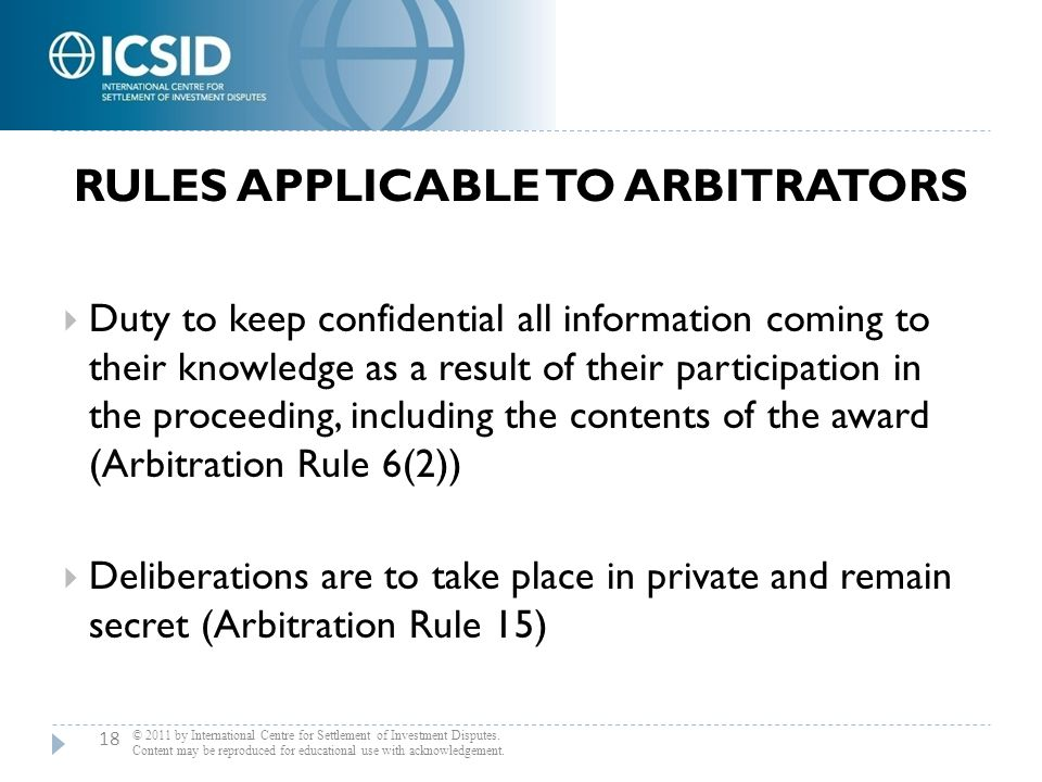 Rules Applicable to Arbitrators
