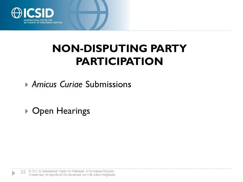 Non-Disputing Party Participation