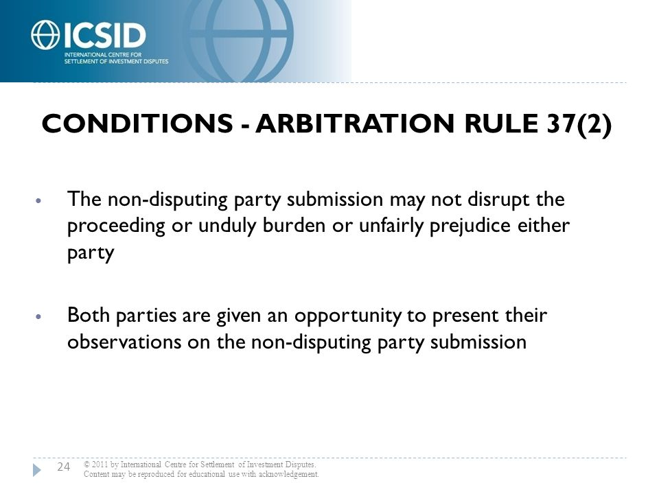 Conditions - Arbitration Rule 37(2)