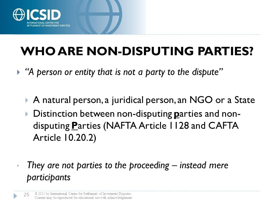 Who are Non-Disputing Parties