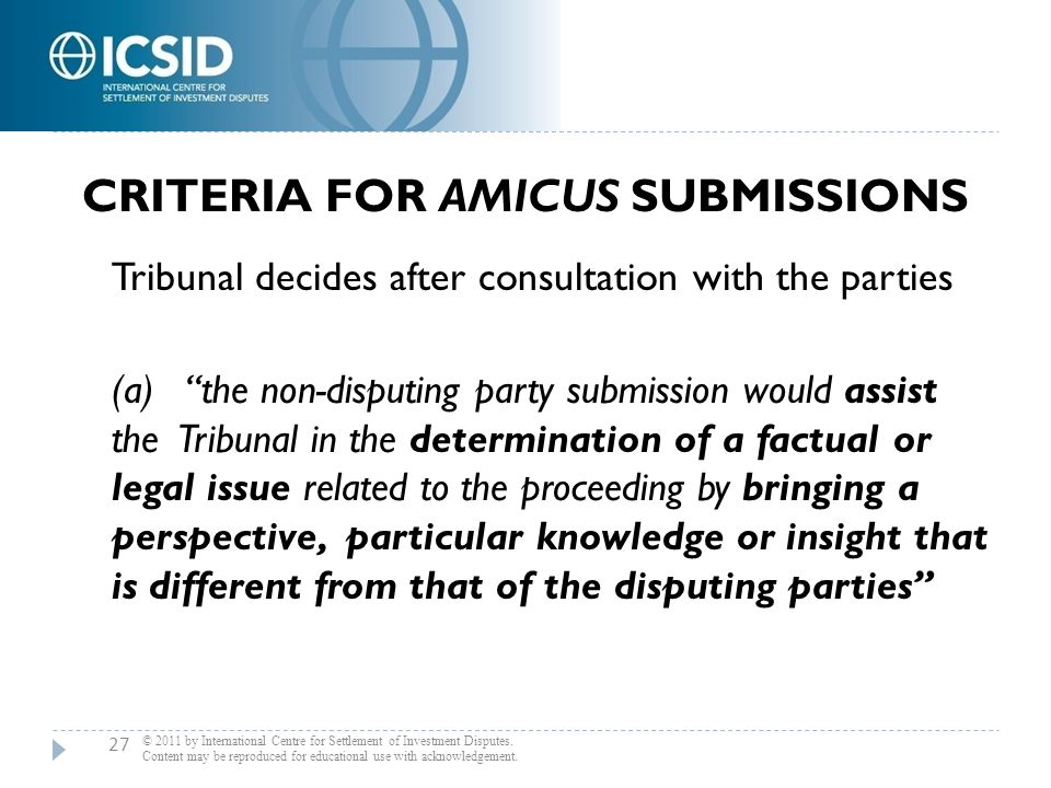 Criteria for Amicus Submissions
