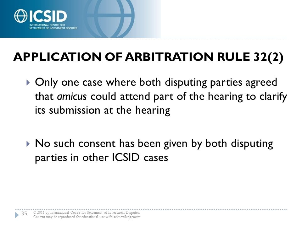 Application of Arbitration Rule 32(2)
