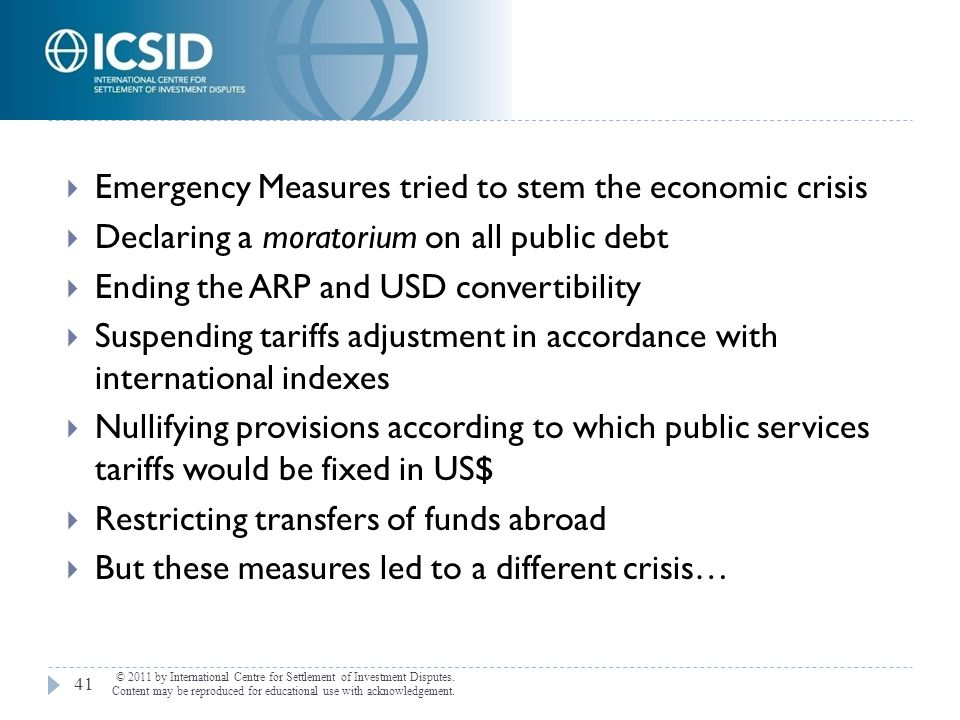 Emergency Measures tried to stem the economic crisis