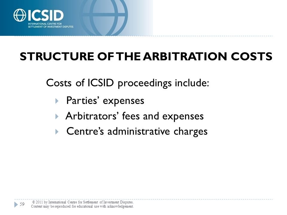 Structure of the Arbitration Costs
