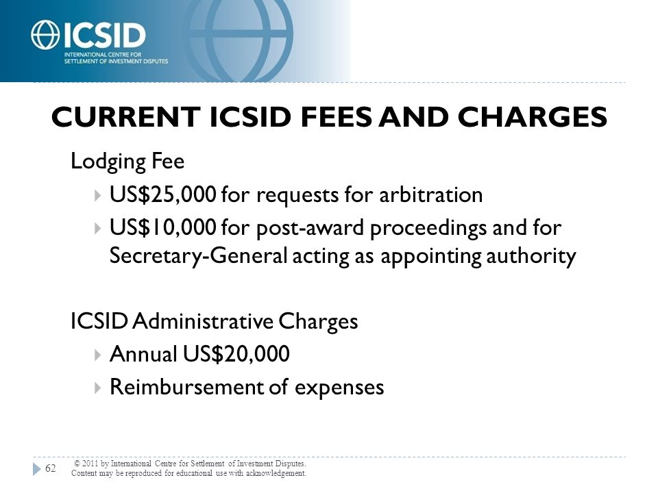 Current ICSID Fees and Charges