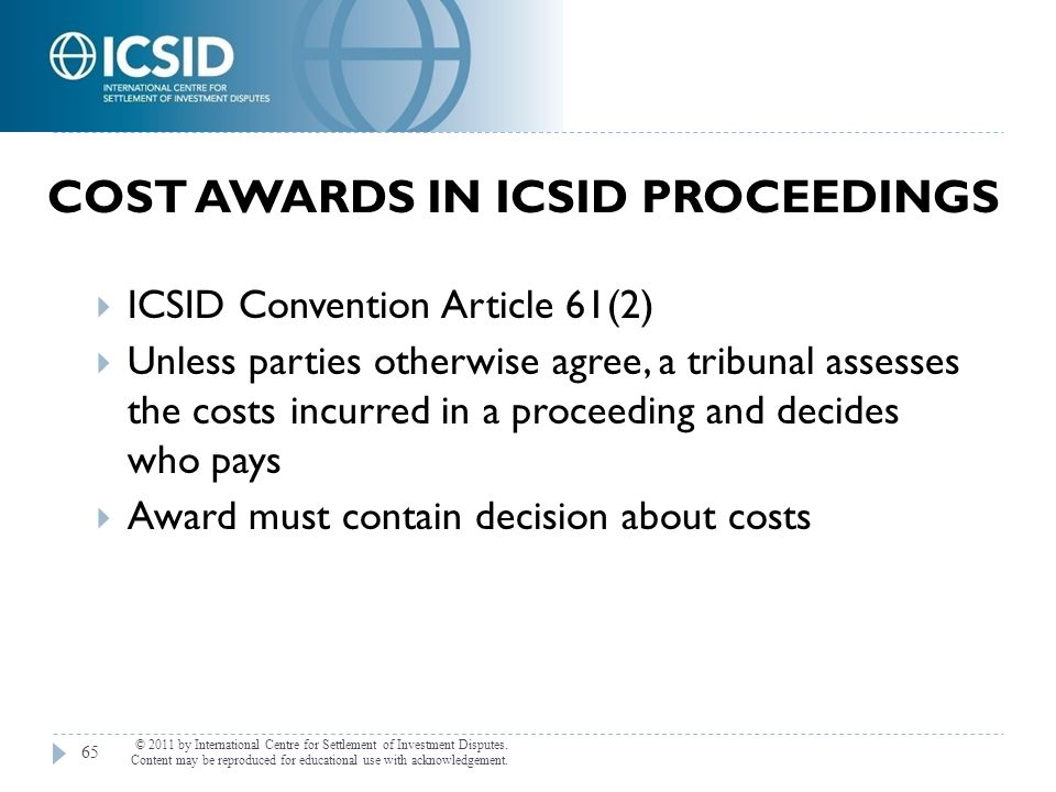 Cost Awards in ICSID Proceedings
