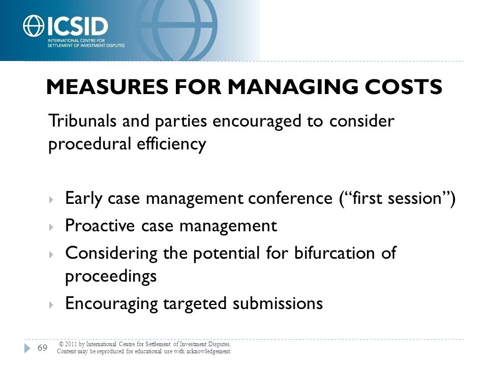 Measures for Managing Costs