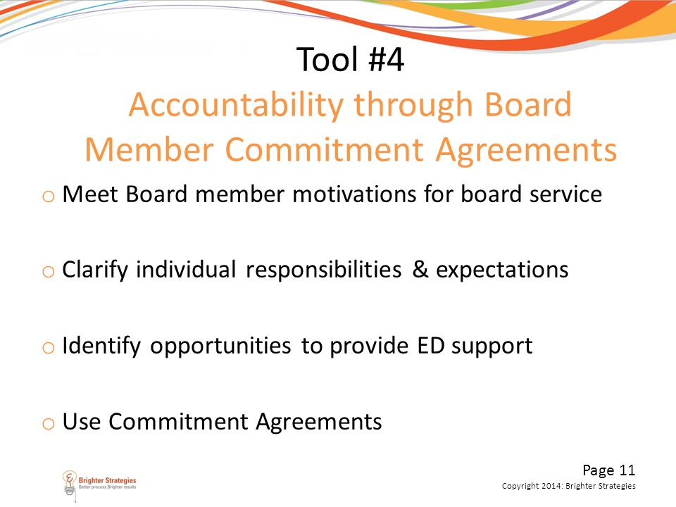Tool #4 Accountability through Board Member Commitment Agreements