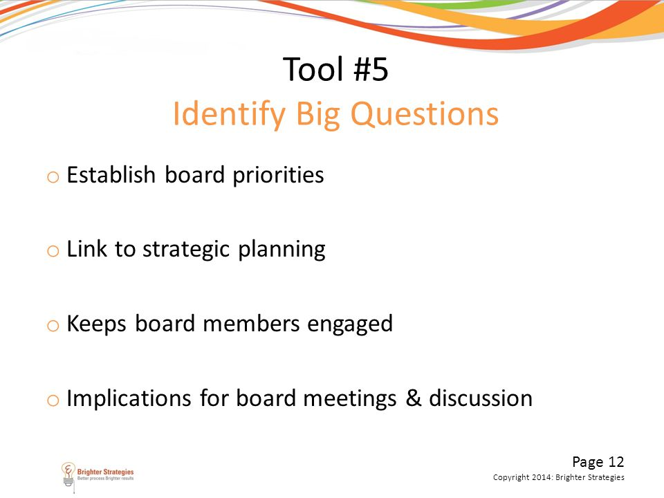 Tool #5 Identify Big Questions