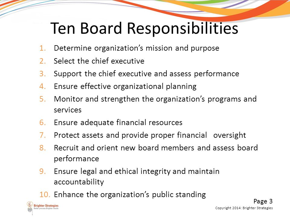 Ten Board Responsibilities