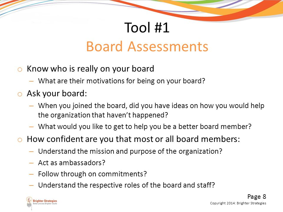Tool #1 Board Assessments