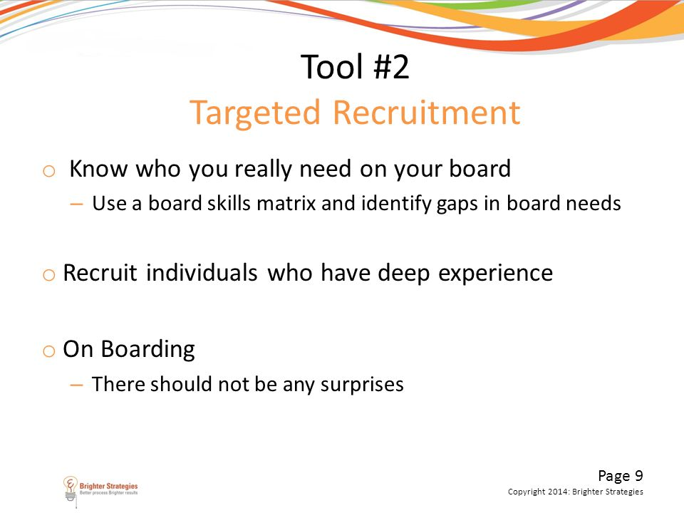 Tool #2 Targeted Recruitment