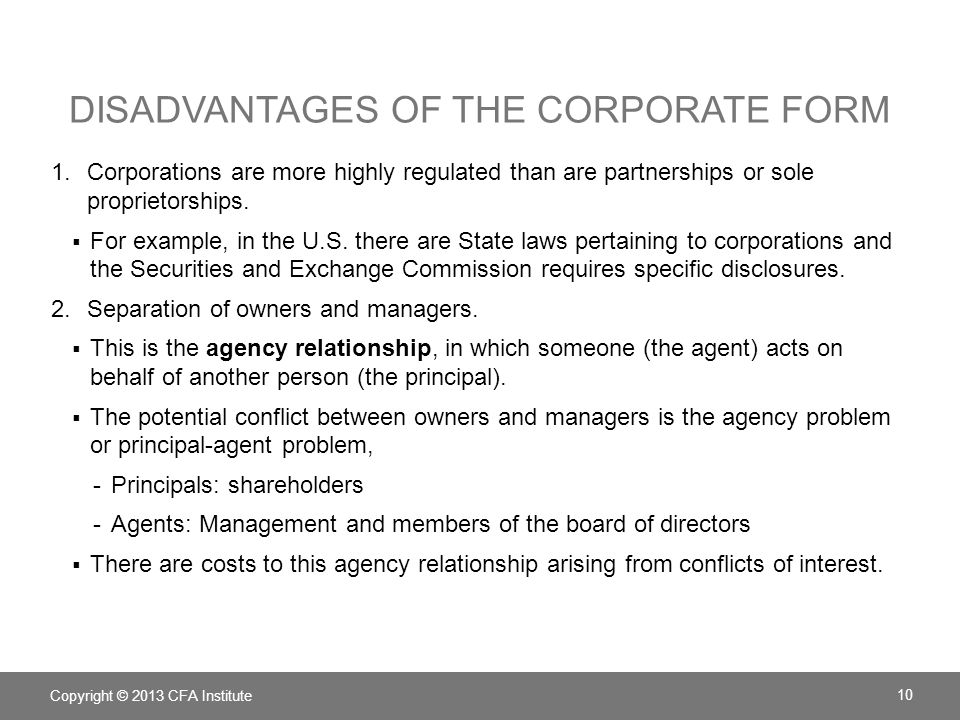 Disadvantages of the corporate form