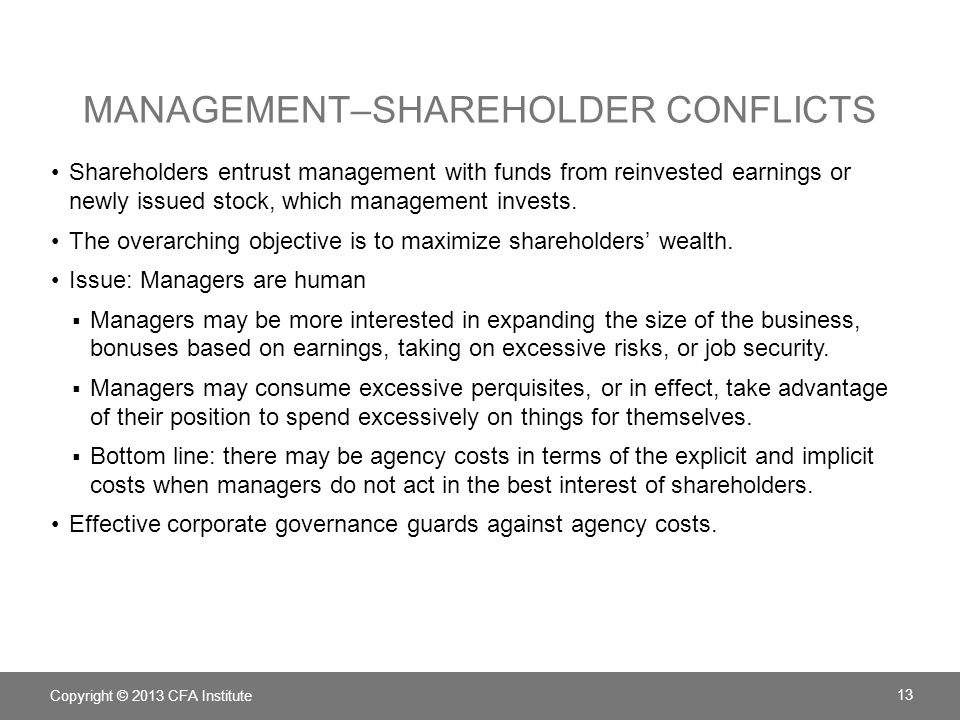 Management–Shareholder Conflicts