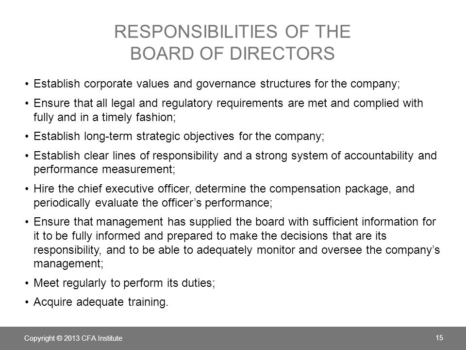 Responsibilities of the Board of Directors