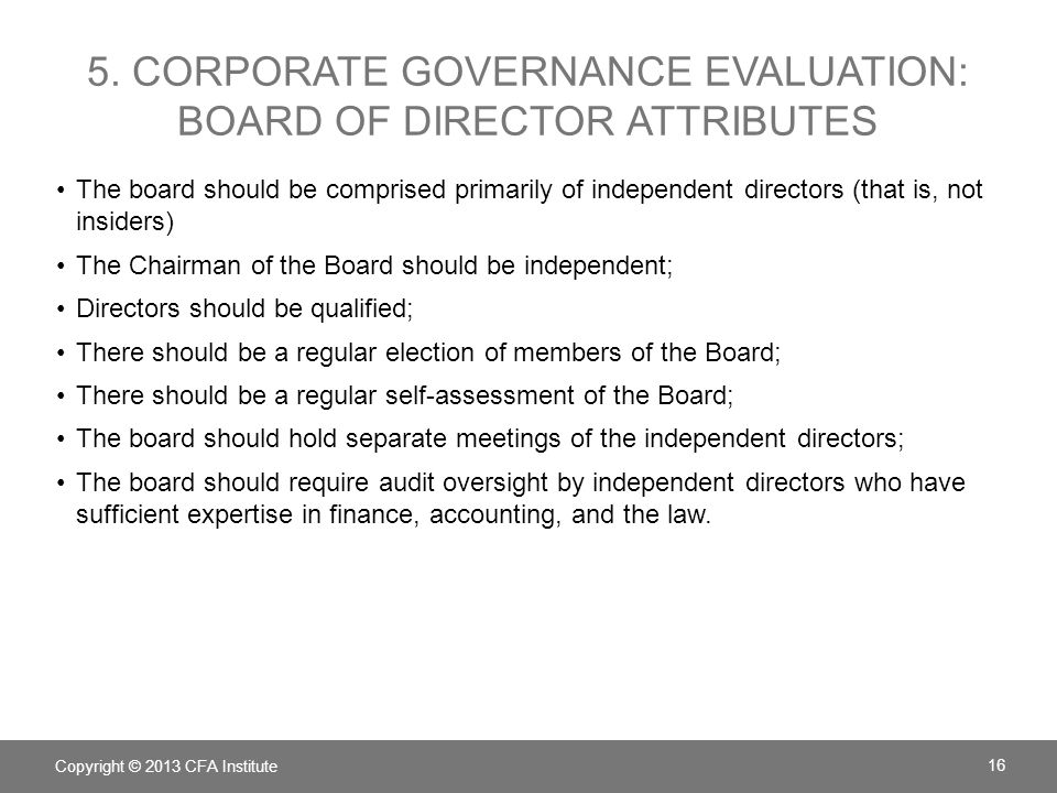 5. Corporate Governance Evaluation: Board of director Attributes