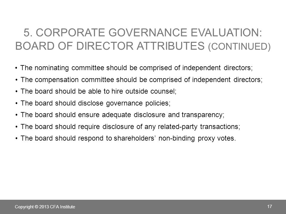 5. Corporate Governance Evaluation: Board of director Attributes (continued)