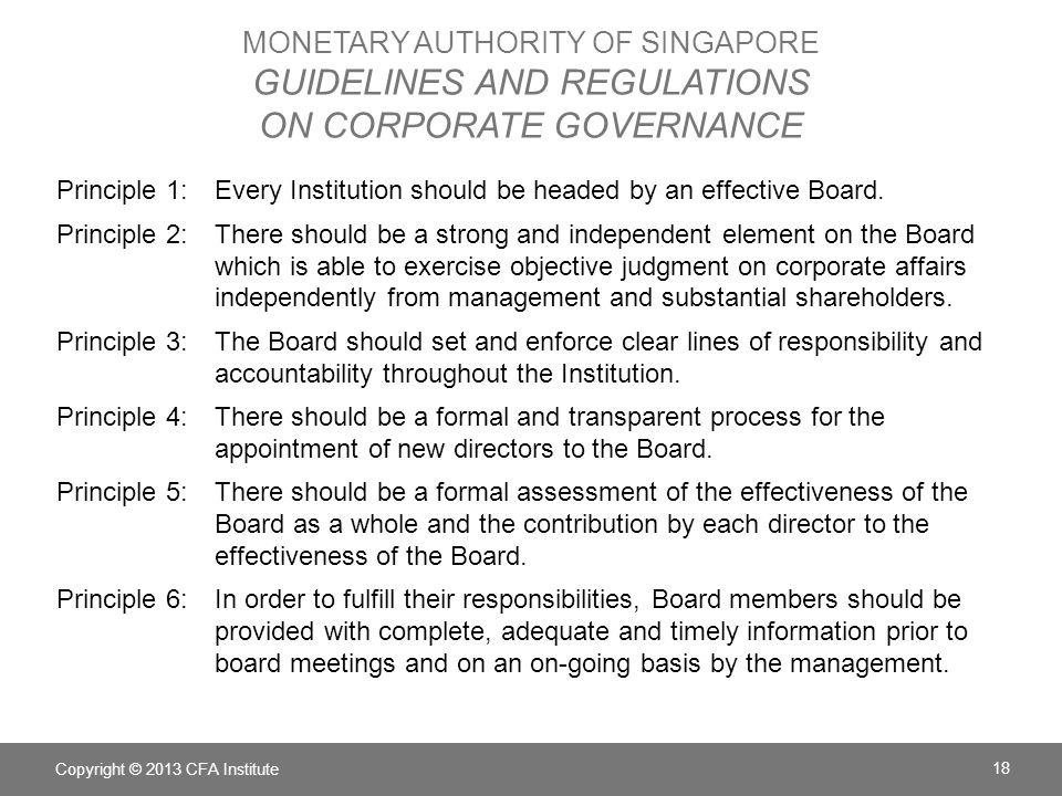 Monetary Authority of Singapore Guidelines and Regulations on Corporate Governance