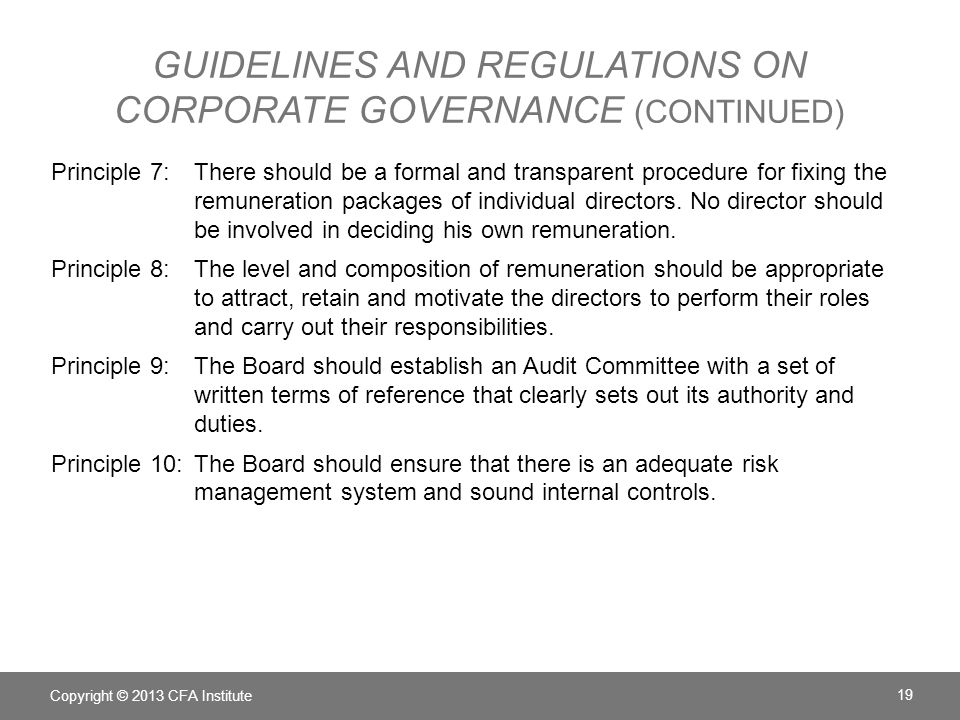 Guidelines and Regulations on Corporate Governance (continued)