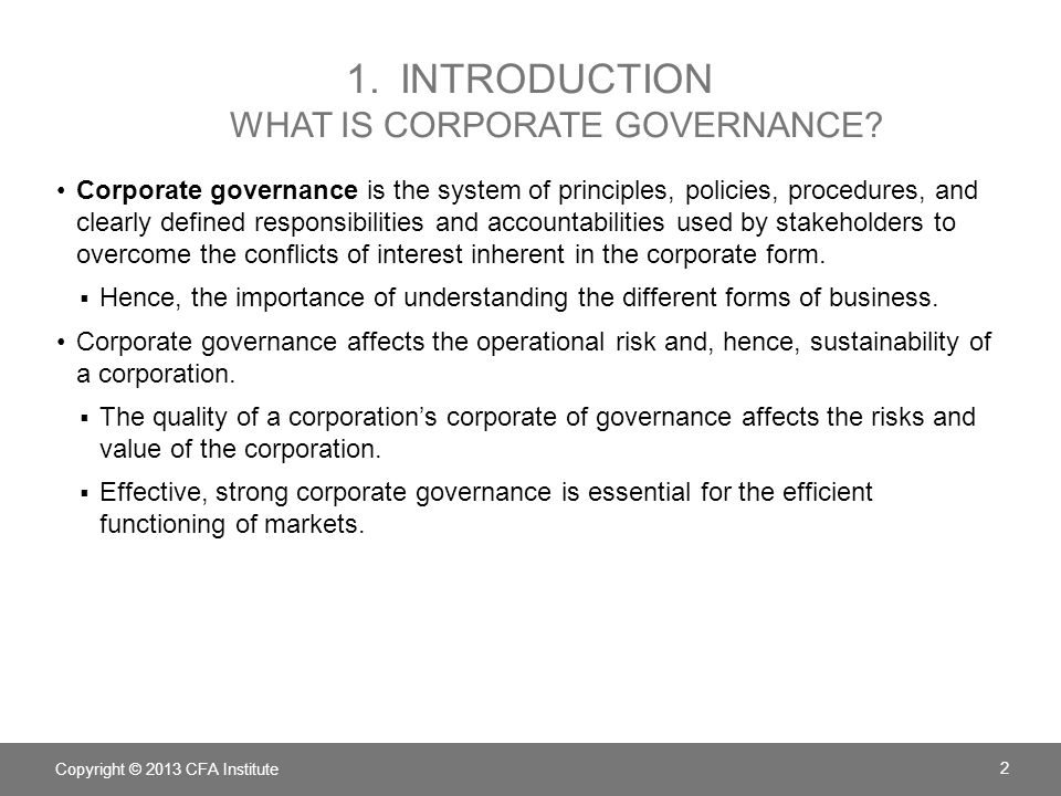 1. Introduction What is corporate governance