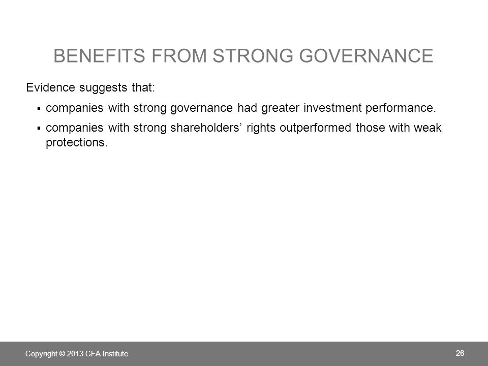 Benefits from strong governance