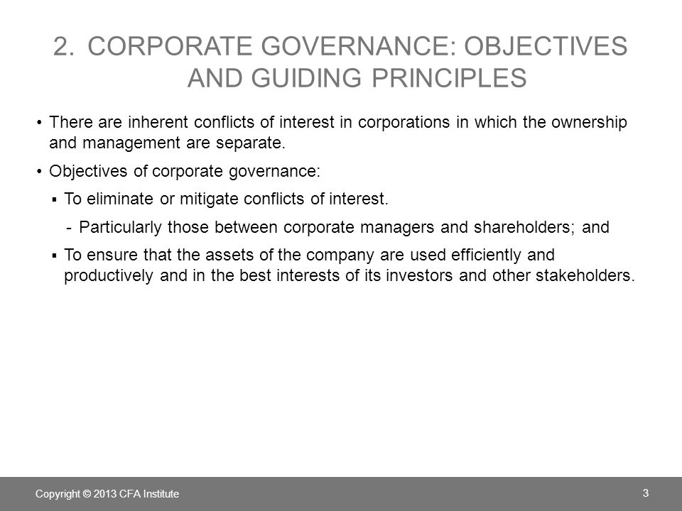 2. Corporate governance: Objectives and guiding principles