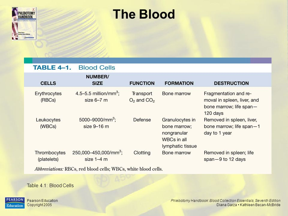 The Blood Table 4.1: Blood Cells Pearson Education Copyright 2005