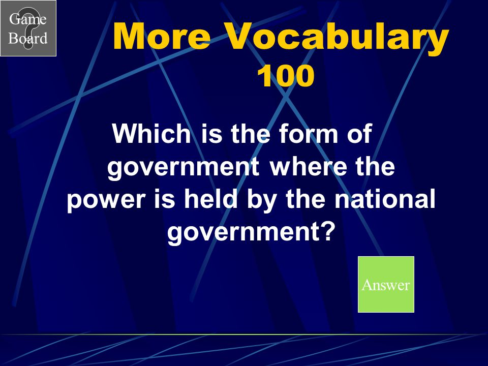 More Vocabulary 100 Which is the form of government where the power is held by the national government