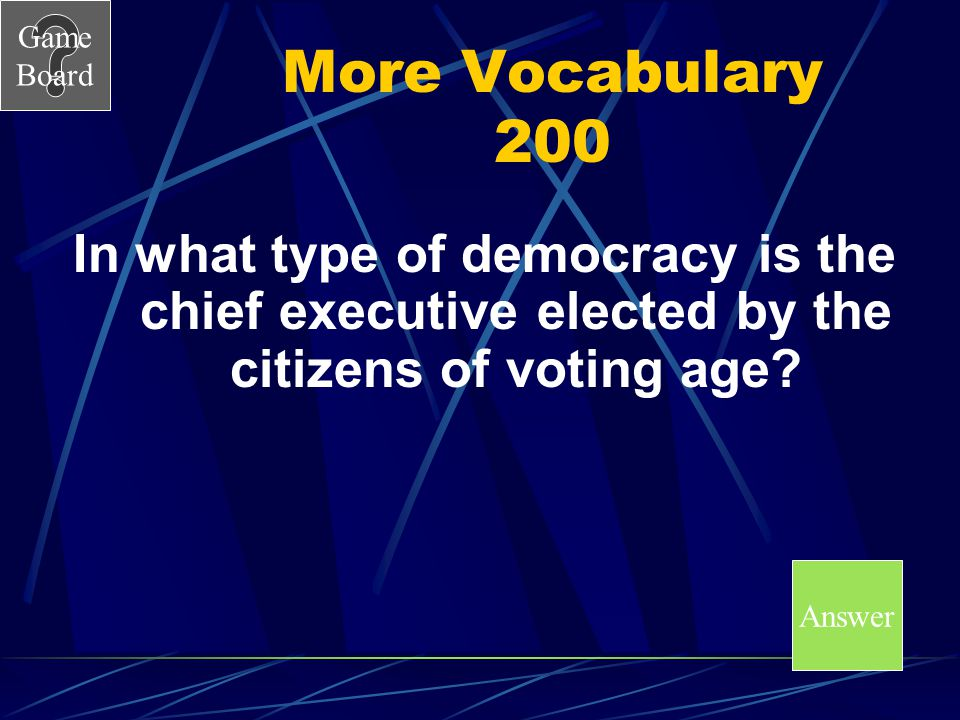 More Vocabulary 200 In what type of democracy is the chief executive elected by the citizens of voting age