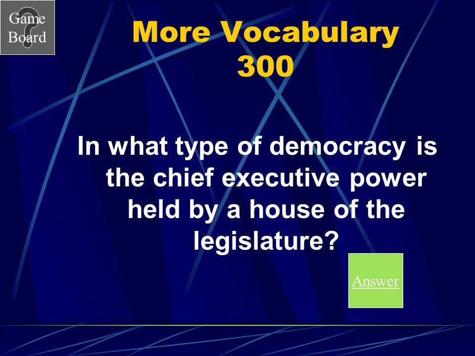 More Vocabulary 300 In what type of democracy is the chief executive power held by a house of the legislature