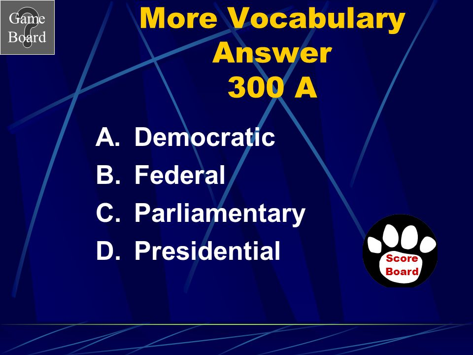 More Vocabulary Answer 300 A