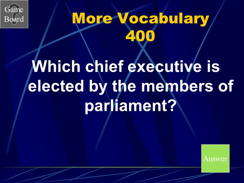 Which chief executive is elected by the members of parliament