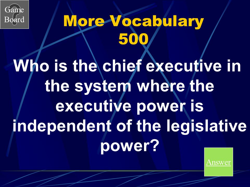 More Vocabulary 500 Who is the chief executive in the system where the executive power is independent of the legislative power