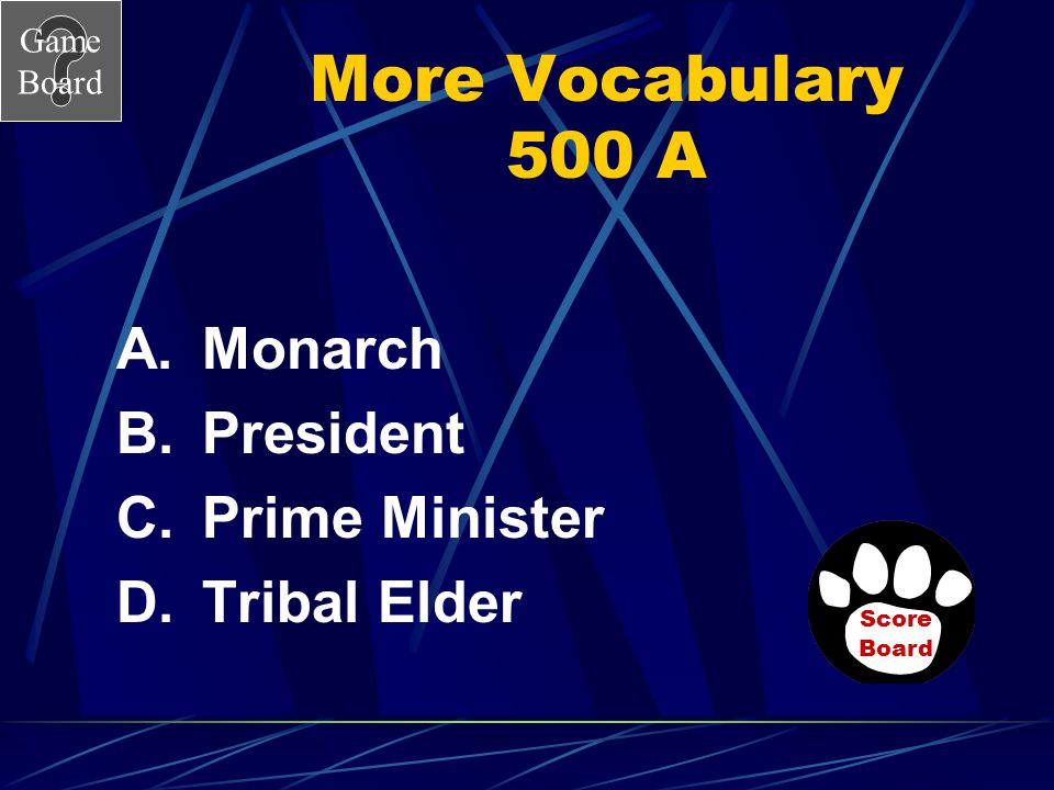 More Vocabulary 500 A Monarch President Prime Minister Tribal Elder