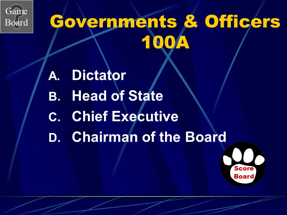 Governments & Officers 100A
