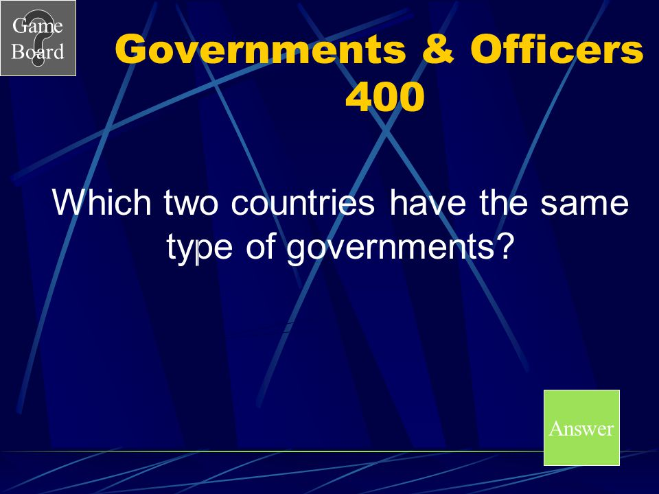 Governments & Officers 400