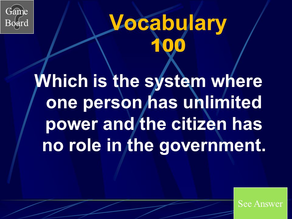 Vocabulary 100 Which is the system where one person has unlimited power and the citizen has no role in the government.