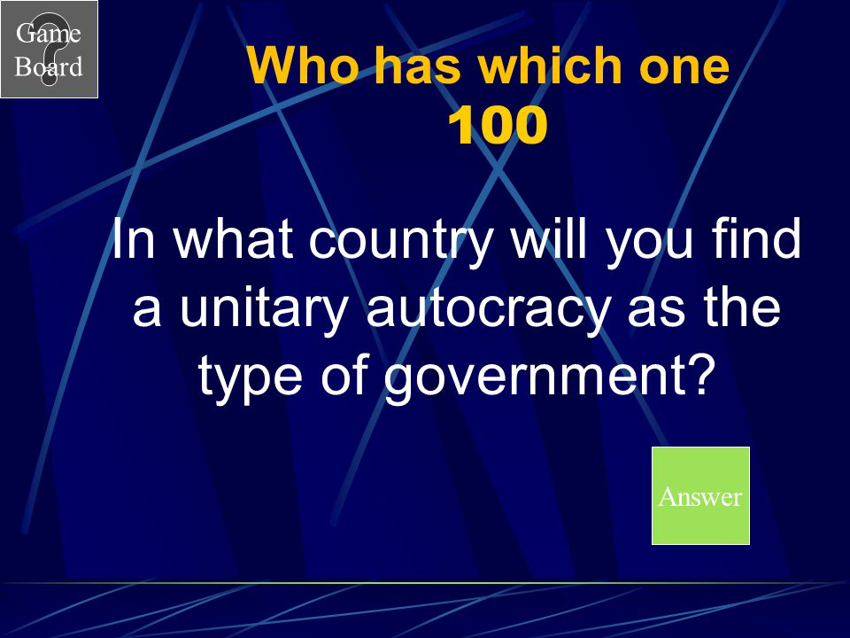 Who has which one 100 In what country will you find a unitary autocracy as the type of government