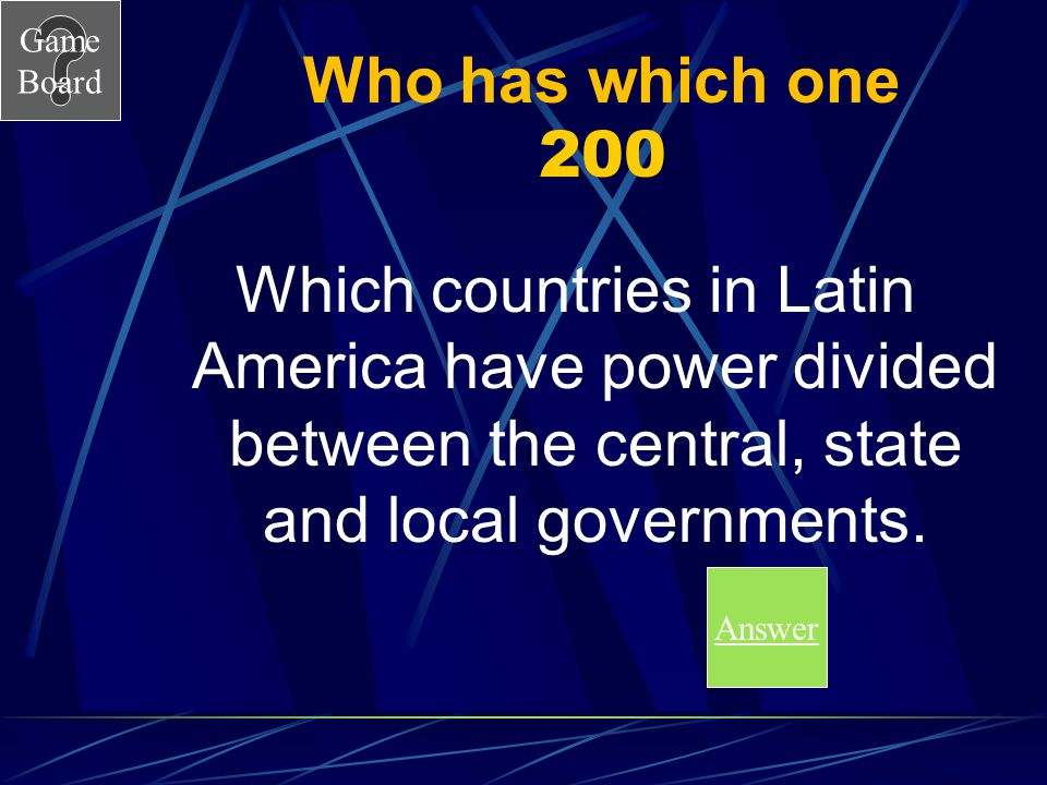 Who has which one 200 Which countries in Latin America have power divided between the central, state and local governments.