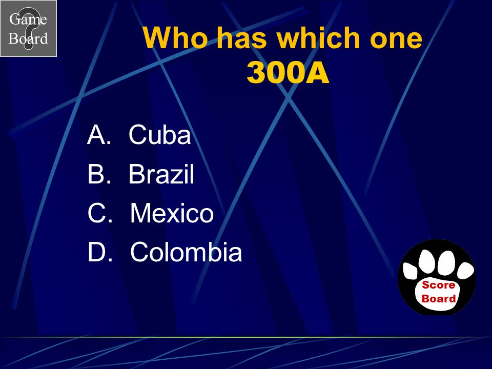 Who has which one 300A A. Cuba B. Brazil C. Mexico D. Colombia