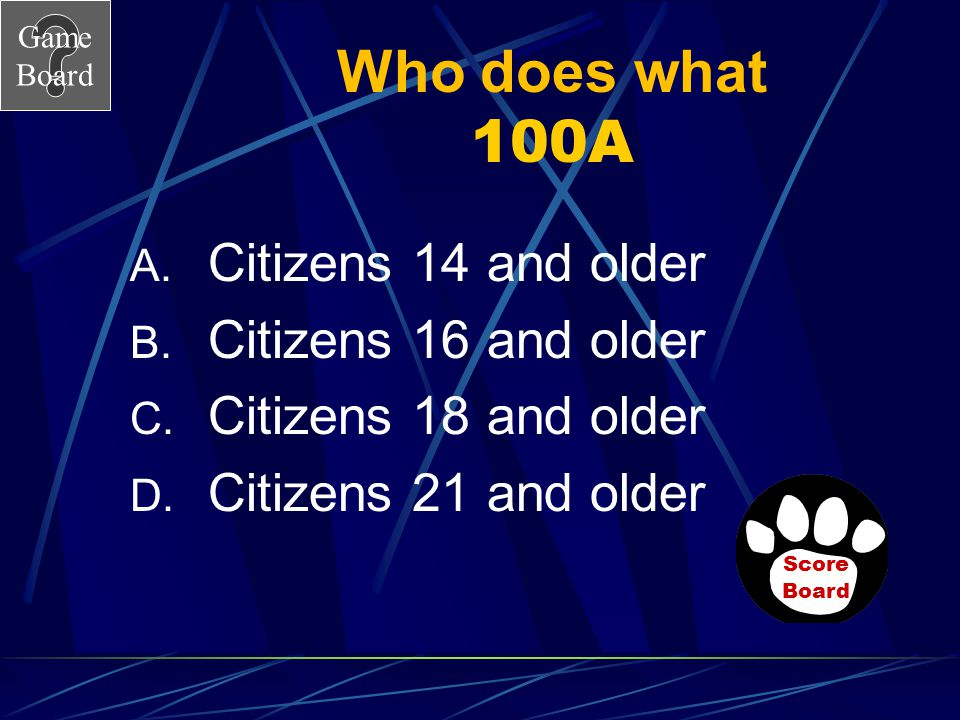 Who does what 100A Citizens 14 and older Citizens 16 and older