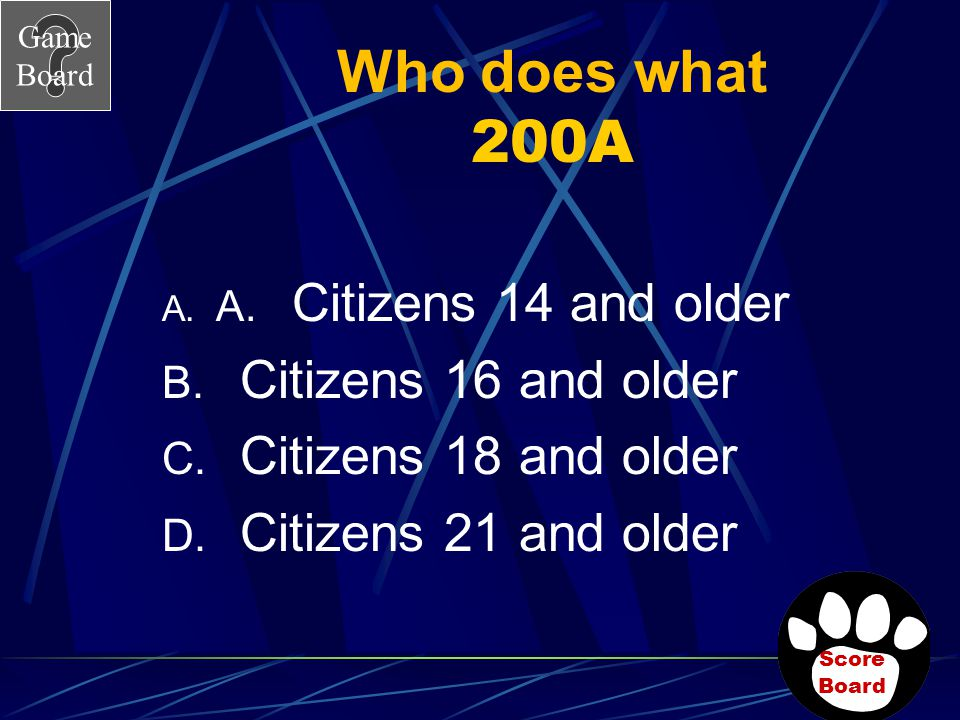 Who does what 200A Citizens 16 and older Citizens 18 and older
