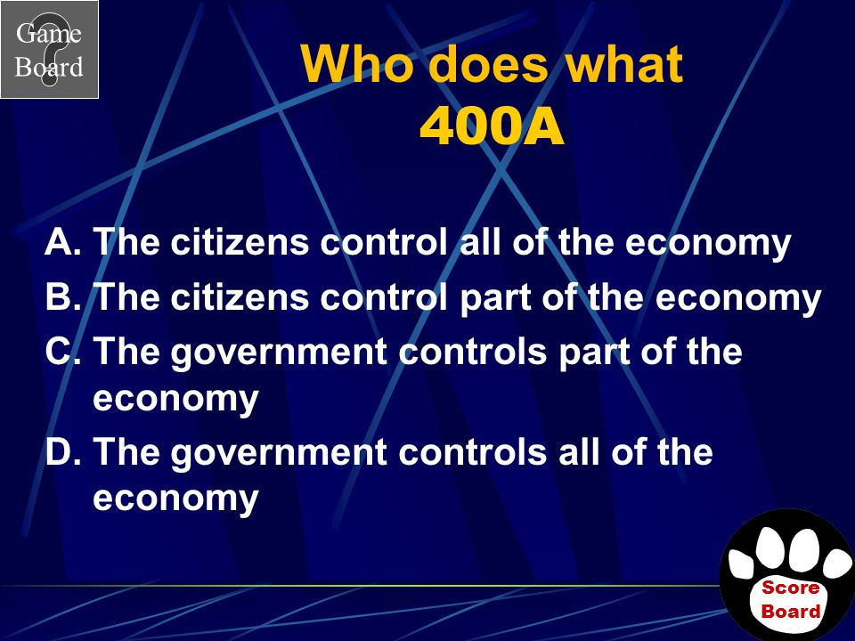 Who does what 400A The citizens control all of the economy