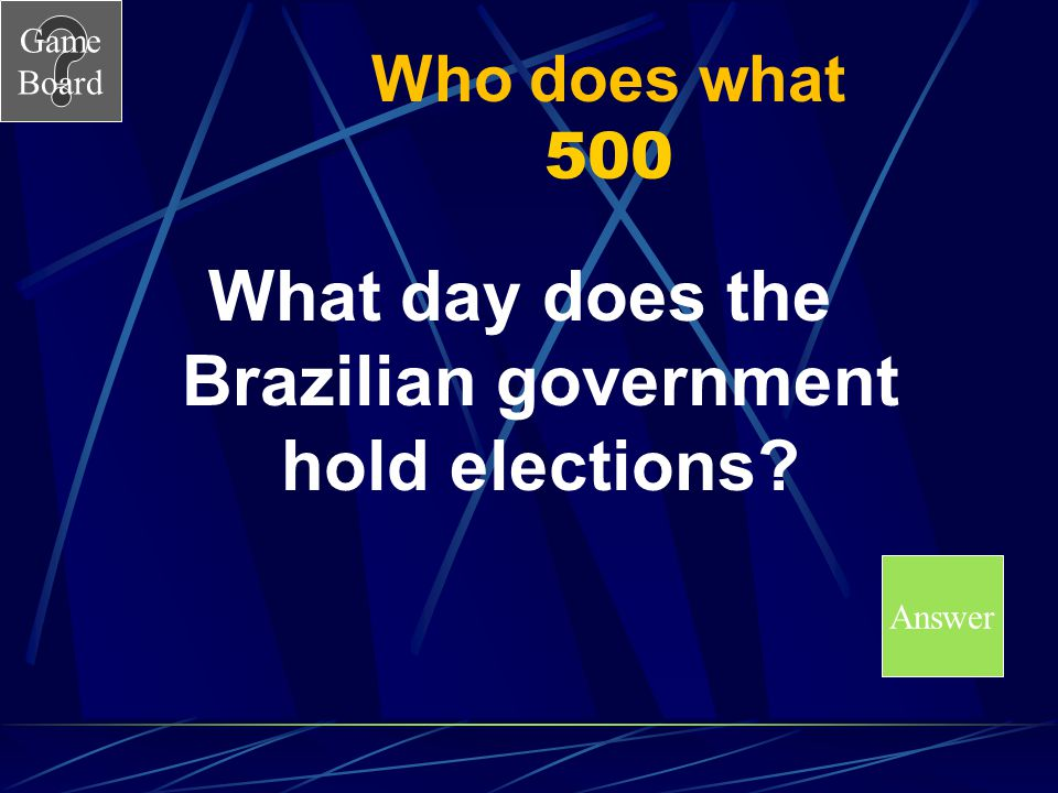 What day does the Brazilian government hold elections