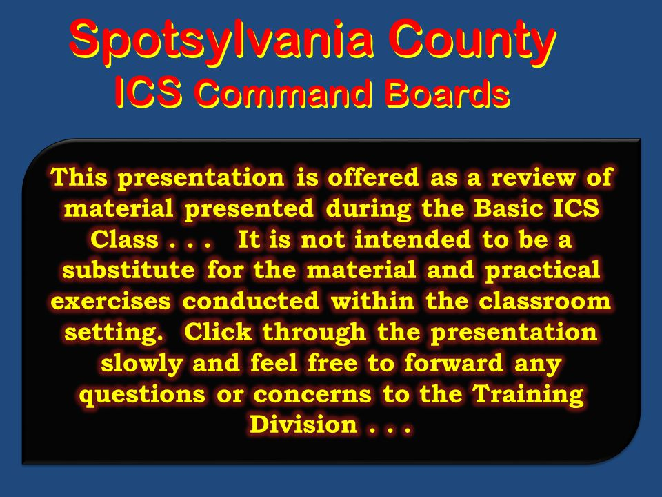 Spotsylvania County ICS Command Boards