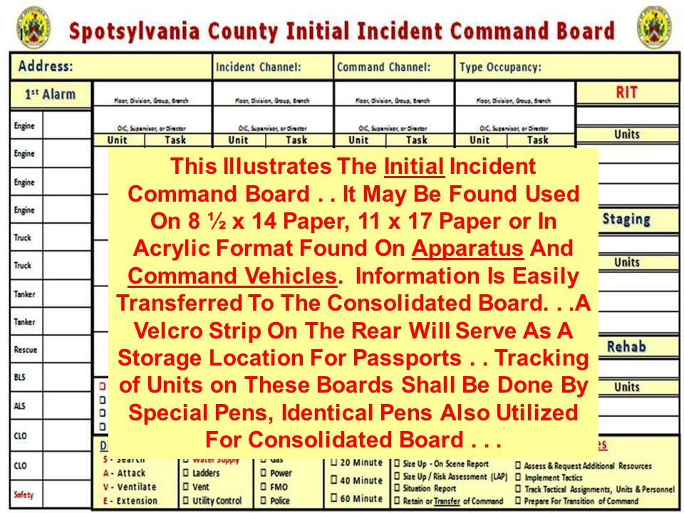 This Illustrates The Initial Incident Command Board