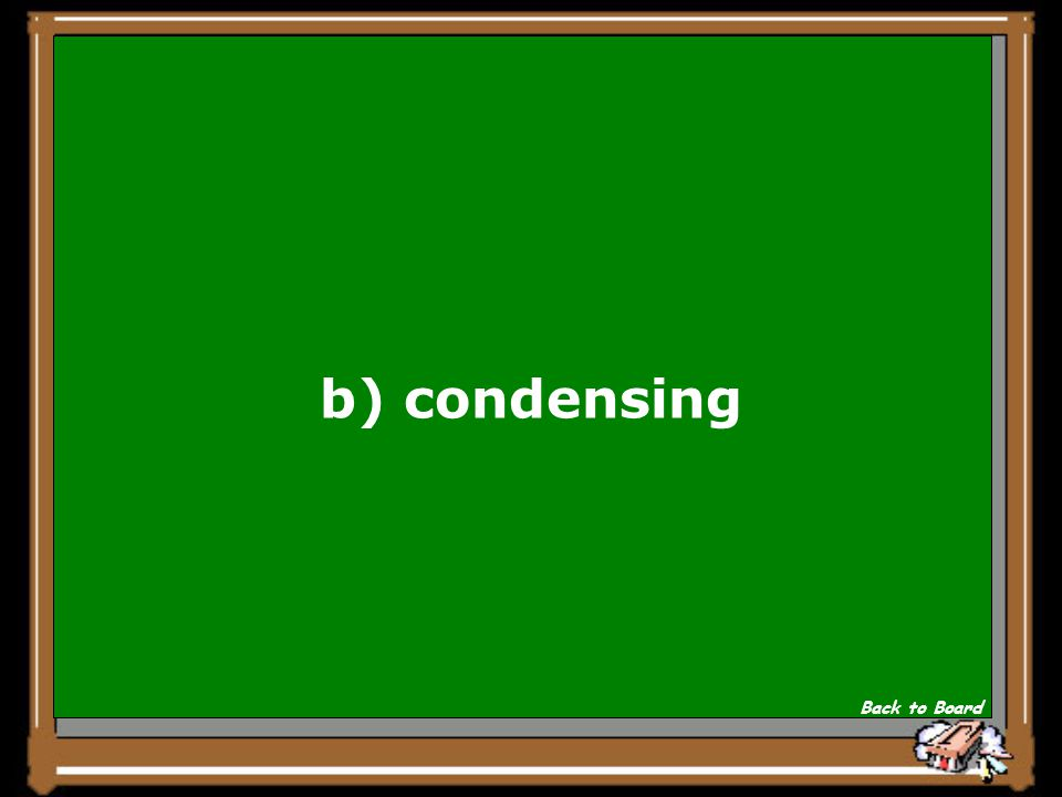 b) condensing Back to Board